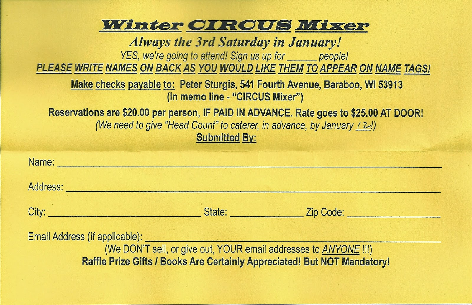 Sawdust and Spangles: Sign up for Baraboo's Winter Mixer