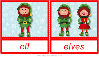 elf, elves, ESL Christmas flashcards with words