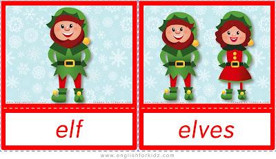 elf, elves, ESL Christmas flashcards with words