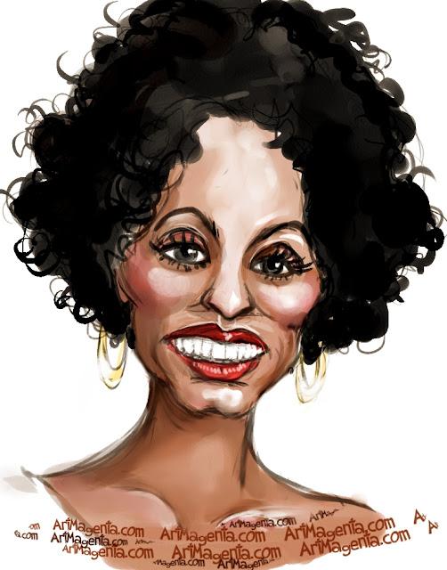 Diana Ross caricature cartoon. Portrait drawing by caricaturist Artmagenta
