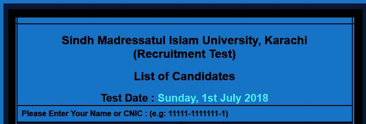Sindh Madressatul Islam University Karachi July 2018 NTS
