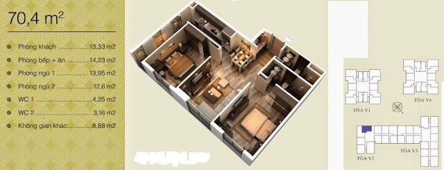 Căn 70,4 m2