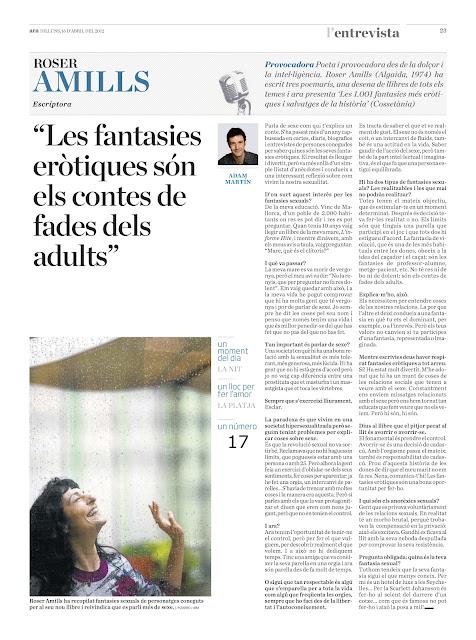 Diari ARA   Entrevista a Roser Amills : 'Les fantasies eròtiques són els contes de fades dels adults'