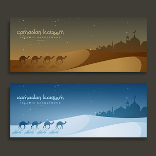 Free Download Vektor Camels In The Desert Banners