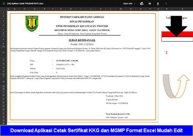 Download Aplikasi Cetak Sertifikat KKG dan MGMP Format Excel Mudah Edit