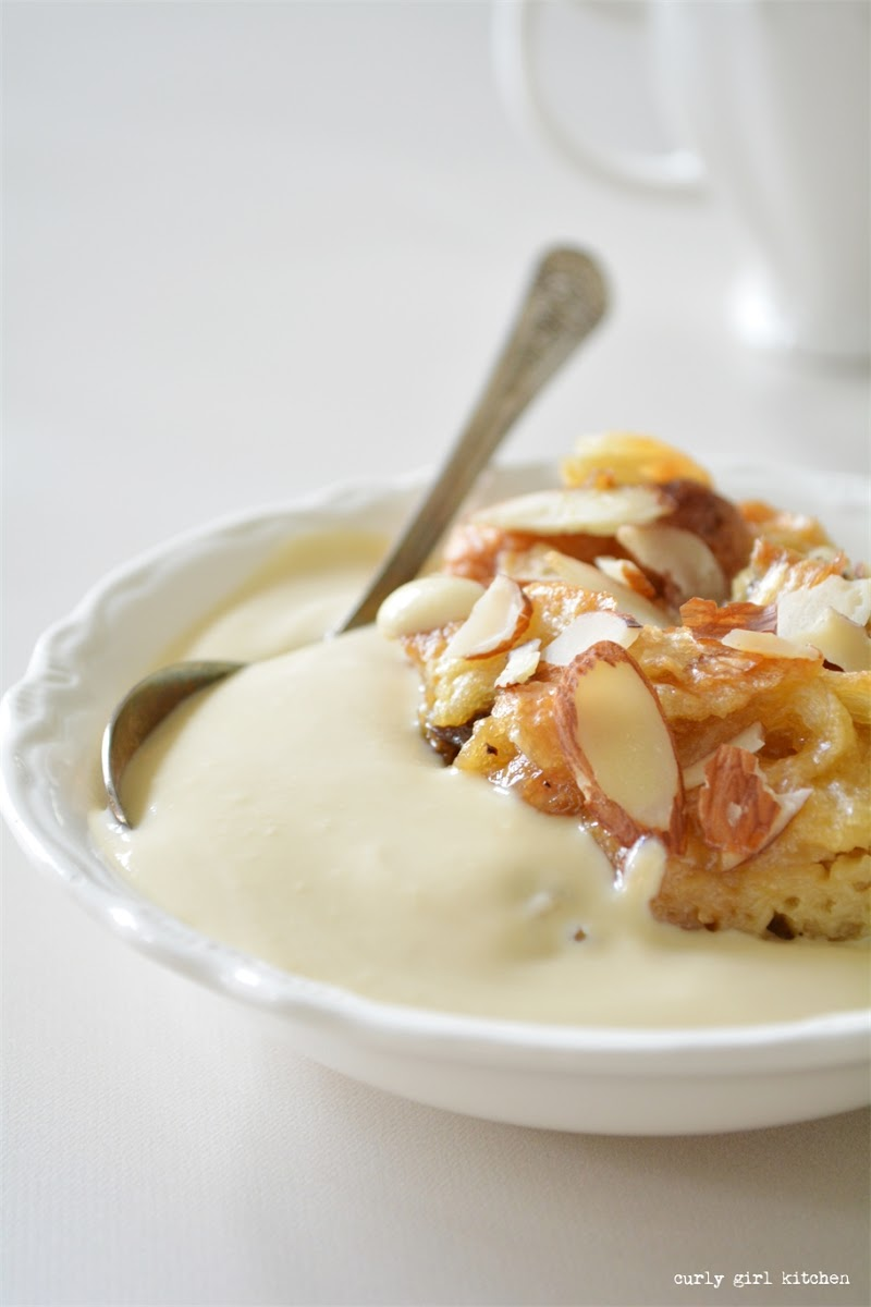 Croissant Bread Pudding with Maple Creme Anglaise
