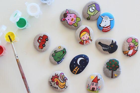 piedras con personajes de cuentos