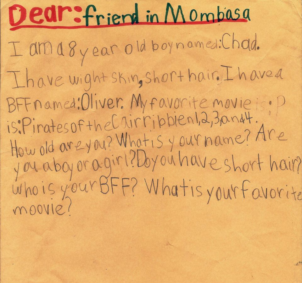 Mission Mombasa  Pen Pal Letters