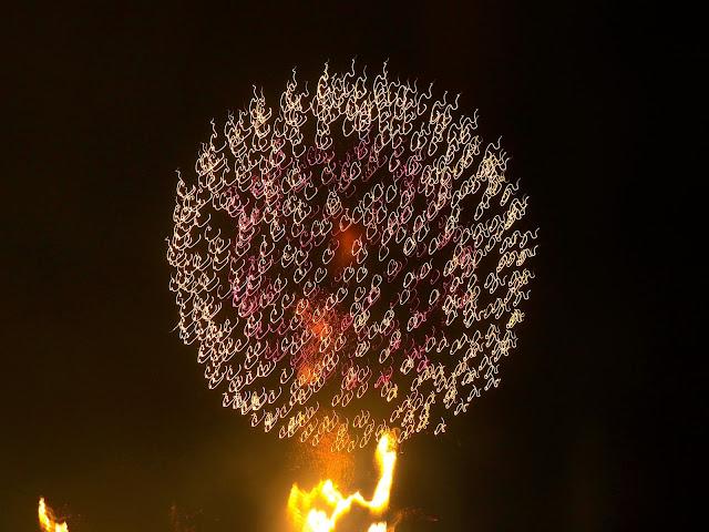 Firework explosion at the 12th Busan Firework Festival on Gwangalli Beach
