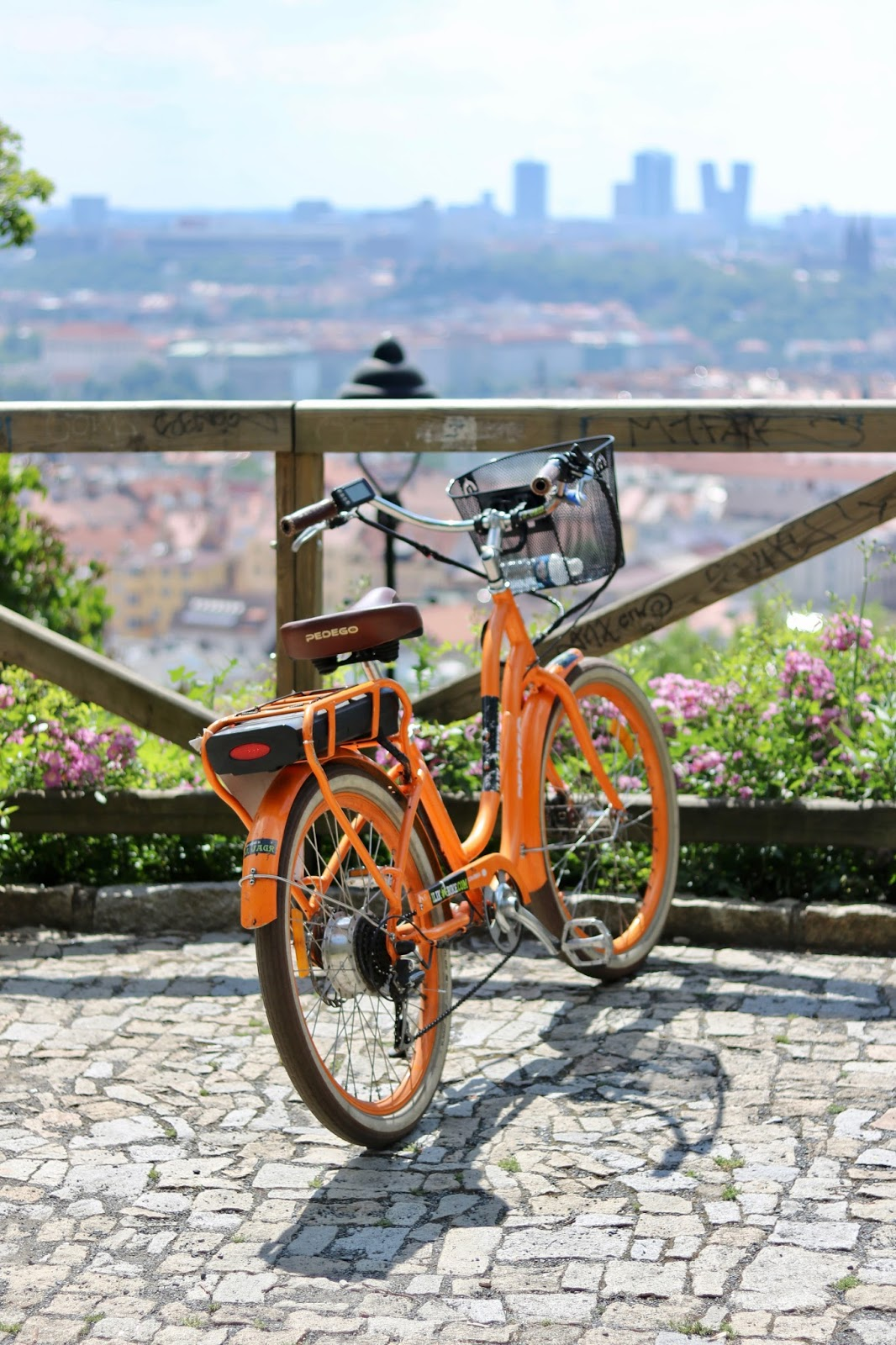 Colourful bike over looking the stunning city of Prague