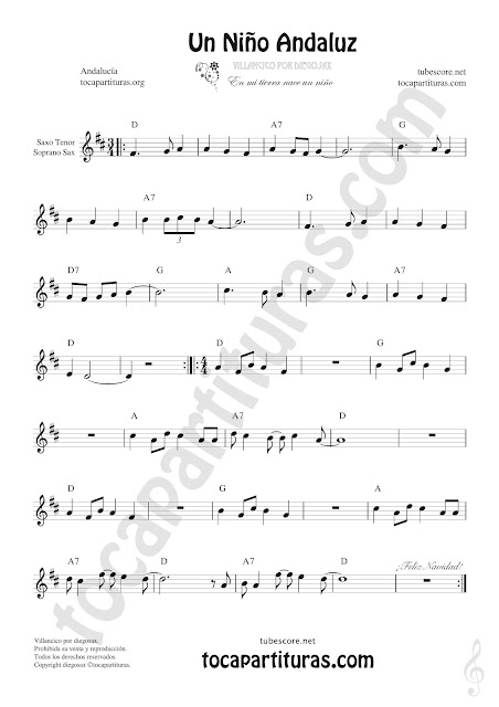 Soprano Sax y Saxo Tenor Partitura de Un Niño Andaluz Sheet Music for Soprano Sax and Tenor Saxophone Music Scores