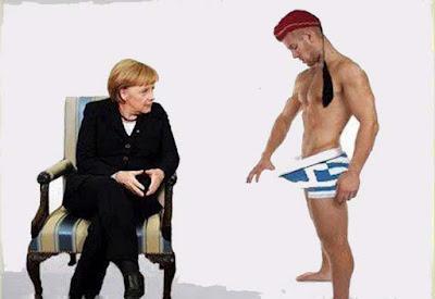 Schuldenkrise - Deutschland und Griechenland mit der leeren Hose