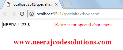 How to restrict special characters in textbox using regular