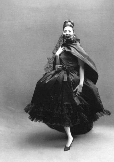 China Machado in Dior Evening Gown Richard Avedon Photo Paris, August 1959