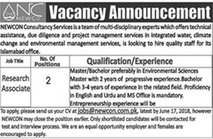 Research Associate Jobs in NEWCON Consultancy Services