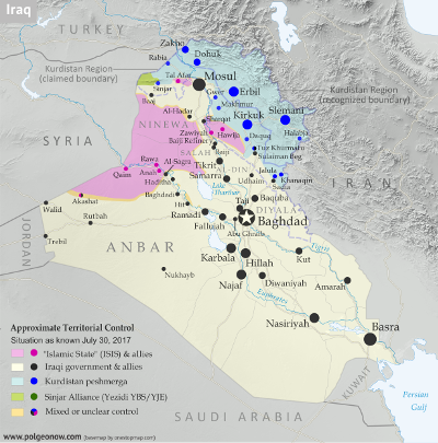 Detailed map of territorial control in Iraq as of July 30, 2017 after the end of the Battle of Mosul, including territory held by the so-called Islamic State (ISIS, ISIL), the Baghdad government, the Kurdistan Peshmerga, and the Yezidi Sinjar Alliance (YBS and YJE). Colorblind accessible.