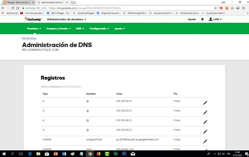 Video tutorial Configurar un dominio de Godaddy en Blogger 2018