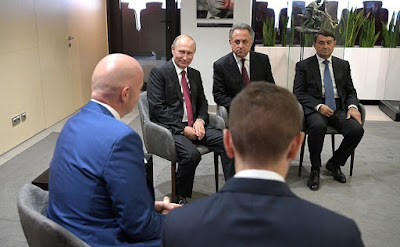 Vladimir Putin and FIFA President Gianni Infantino in Moscow.
