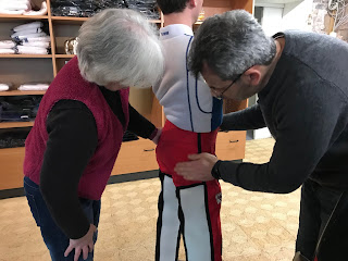 Picture of initial fitting of trousers