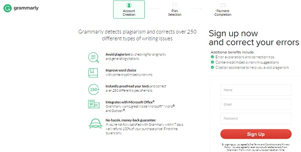 Grammarly signup form