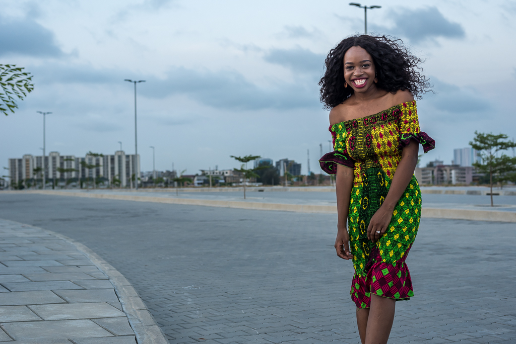 Ruched Ankara Peplum Dress on Nigerian Fashion Blogger