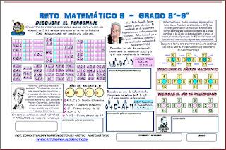 Día del Idioma, Día del Libro, Criptoaritmética, Criptosuma, Alfaméticas, Criptogramas, Sopa de Letras, Jeroglíficos, Uno más, Desafíos matemáticos, Retos matemáticos, Problemas matemáticos