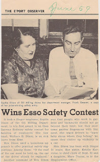 """Wins Esso Safety Contest."" Clipping about Sophie Dixon, Singer employee, winning Esso Bayway safety contest. June 1959 issue of E'Port Observer. E. Ackemann, 2017."