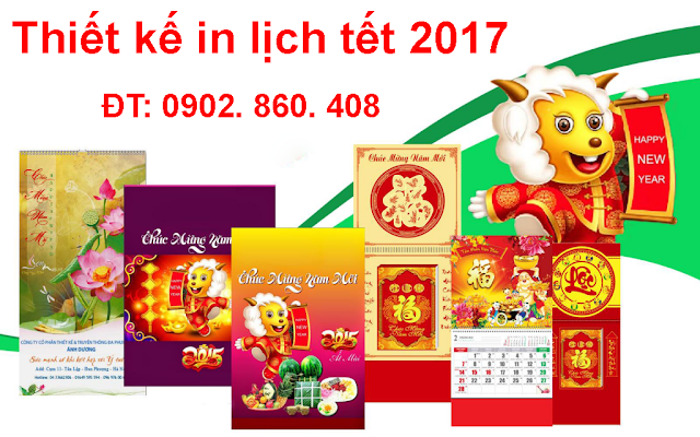 Thiết kế in lịch tết 2017
