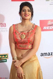 Harshika Ponnacha in orange blouuse brown skirt at Mirchi Music Awards South 2017 ~  Exclusive Celebrities Galleries 039.JPG