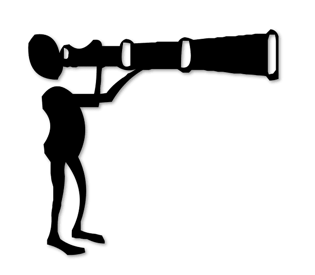 Man looking through Binoculars, Silhoutte, Free Clipart