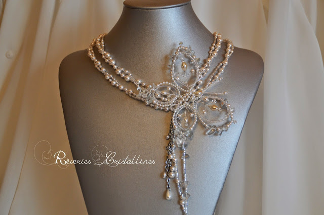 collier mariée perles et cascade de perles