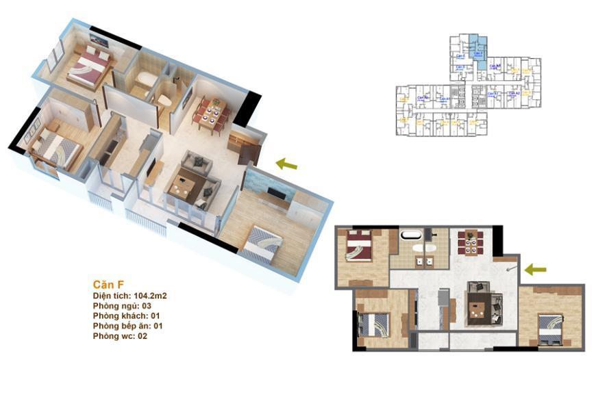 Mặt bằng căn hộ số 03 ruby 3- Goldmark City 136 Hồ Tùng Mậu