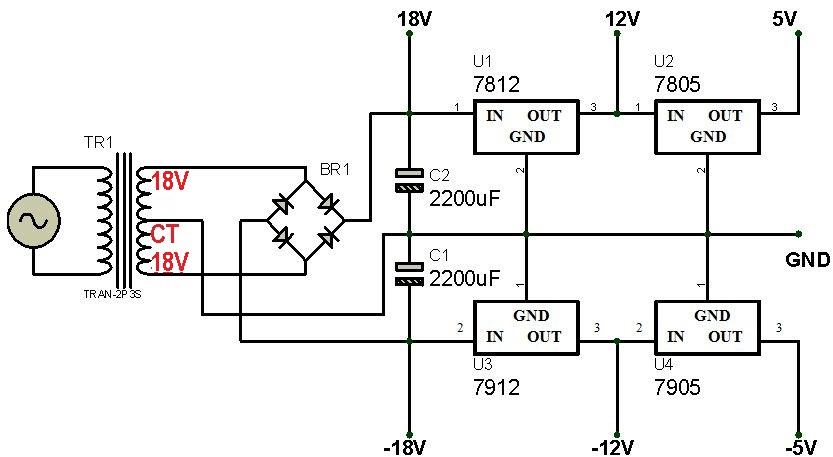 Rangkaian Power Suplly Simetris Syarif Projects