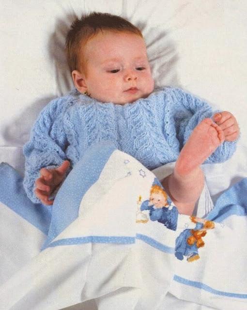 Enterito y Chaqueta de Bebé tejidos a Dos Agujas
