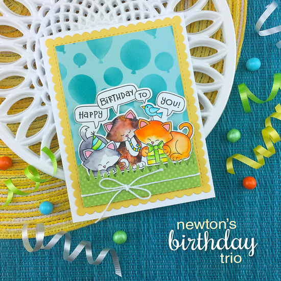 Cat Birthday Card by Jennifer Jackson | Newton's Birthday Trio Stamp Set and Balloons Stencil by Newton's Nook Designs #newtonsnook #handmade
