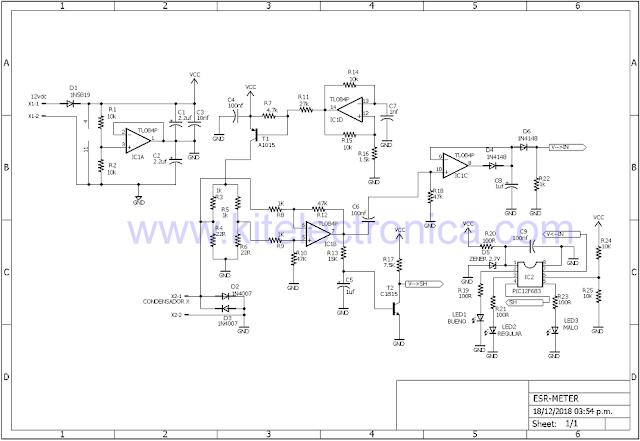 Medidor de ESR con Leds diagrama.