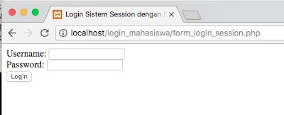 cara membuat form login session dengan nama & nomor induk mahasiswa