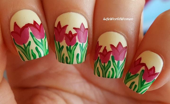 Life World Women: Tulips Nail Art Using Acrylic Paint