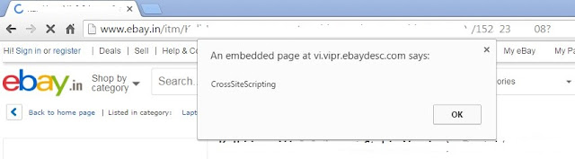 Cross-Site Scripting Vulnerability in sell.eBay.in