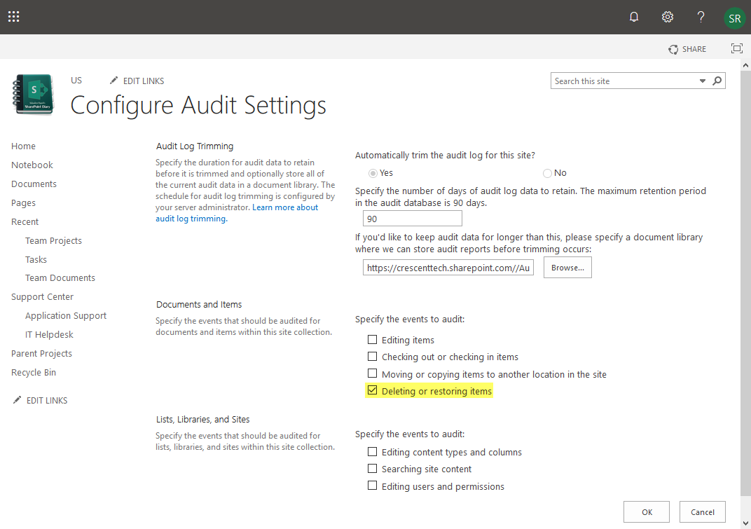 sharepoint audit delete entries