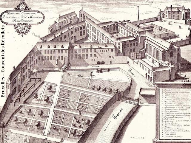 Bruxelles - Place et Palais de la Bourse - Couvent des Frères Récollets bâti sur un bras de la Senne à l'emplacement de l'actuelle Palais de la Bourse - Bruxelles-Bruxellons