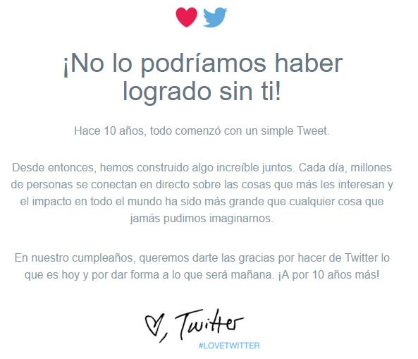 Mensaje de Twitter por los 10 años