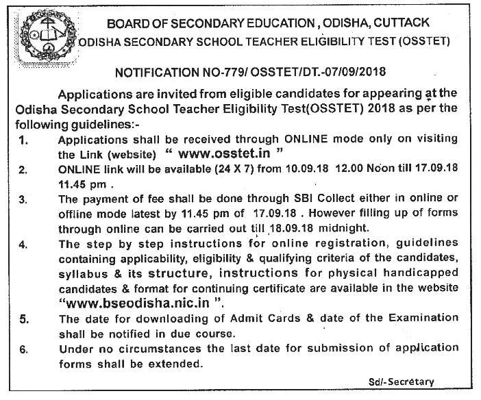 OSSTET 2018 Notification Out  Online Apply Syllabus