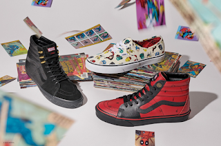 A group birds eye view of two pairs of Hi-Sk8 Vans (one (one in a red with black detailing to match Deadpools suit and a pair of Black to match Black Panther) and a pair of white slip-ons with small animated pictures of Avengers printed all over them on a white background.