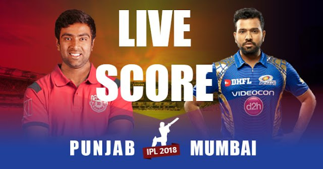 IPL 2018 Match 50 MI vs KXIP Live Score and Full Scorecard