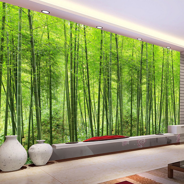 Scenic Wall Murals 3D Forest Tree Nature Green Photo Wallpaper Bedroom Wall Murals Livingroom