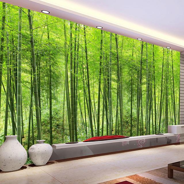 Scenic Wall Murals 3D Forest Tree Nature Green Photo Wallpaper Bedroom Wall Murals Livingroom