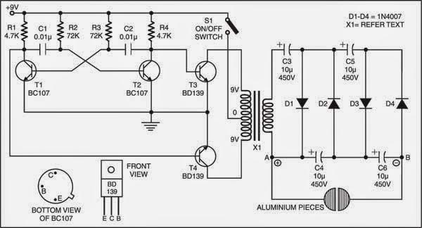 simple electric shock gun circuit diagram