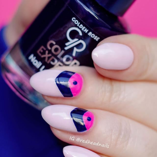 Golden Rose geometric nail art