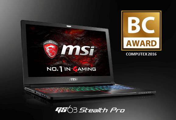 Laptop MSI GS 63 Stealth Pro được giải thưởng BC Choice Award